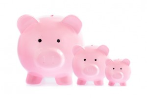 Three pink piggy banks